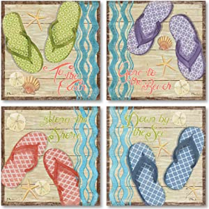 Hit The Beach I Colorful, Retro Flip Flop Set; Coastal Decor; Four 12 x 12 Poster Prints