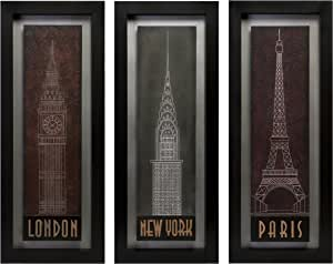 Amazon Com London Paris Newyork City Symbols Gallery Wall