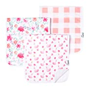 "Baby Burp Cloth Large Absorbent 3 Pack Gift Set Girl ""June"" by Copper Pearl …"