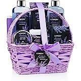 Home Spa Gift Basket, Luxurious 9 Piece Bath & Body Set For Women/Men, Lavender & Jasmine Scent - Contains Shower Gel, Bubble Bath, Body Lotion, Bath Salt, Scrub, Massage Oil, Back Scrubber & Basket