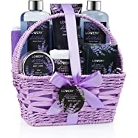 Home Spa Gift Basket, 9 Piece Bath & Body Set for Women and Men, Lavender & Jasmine Scent - Contains Shower Gel, Bubble…