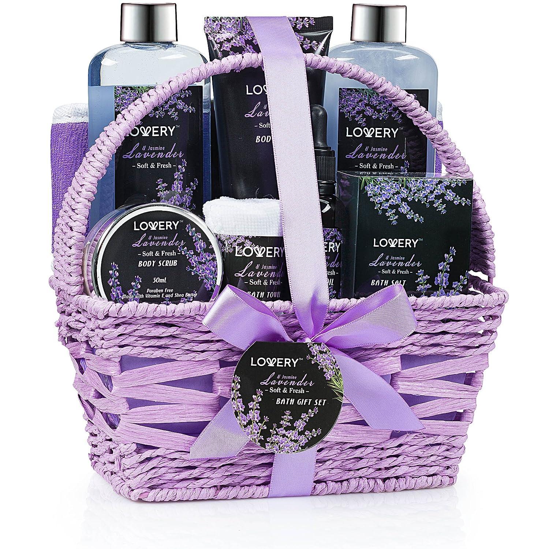 Home Spa Gift Basket, Luxurious 9 Piece Bath & Body Set for Women/Men, Lavender & Jasmine Scent - Contains Shower Gel, Bubble Bath, Body Lotion, Bath Salt, Scrub, Massage Oil, Loofah & Basket