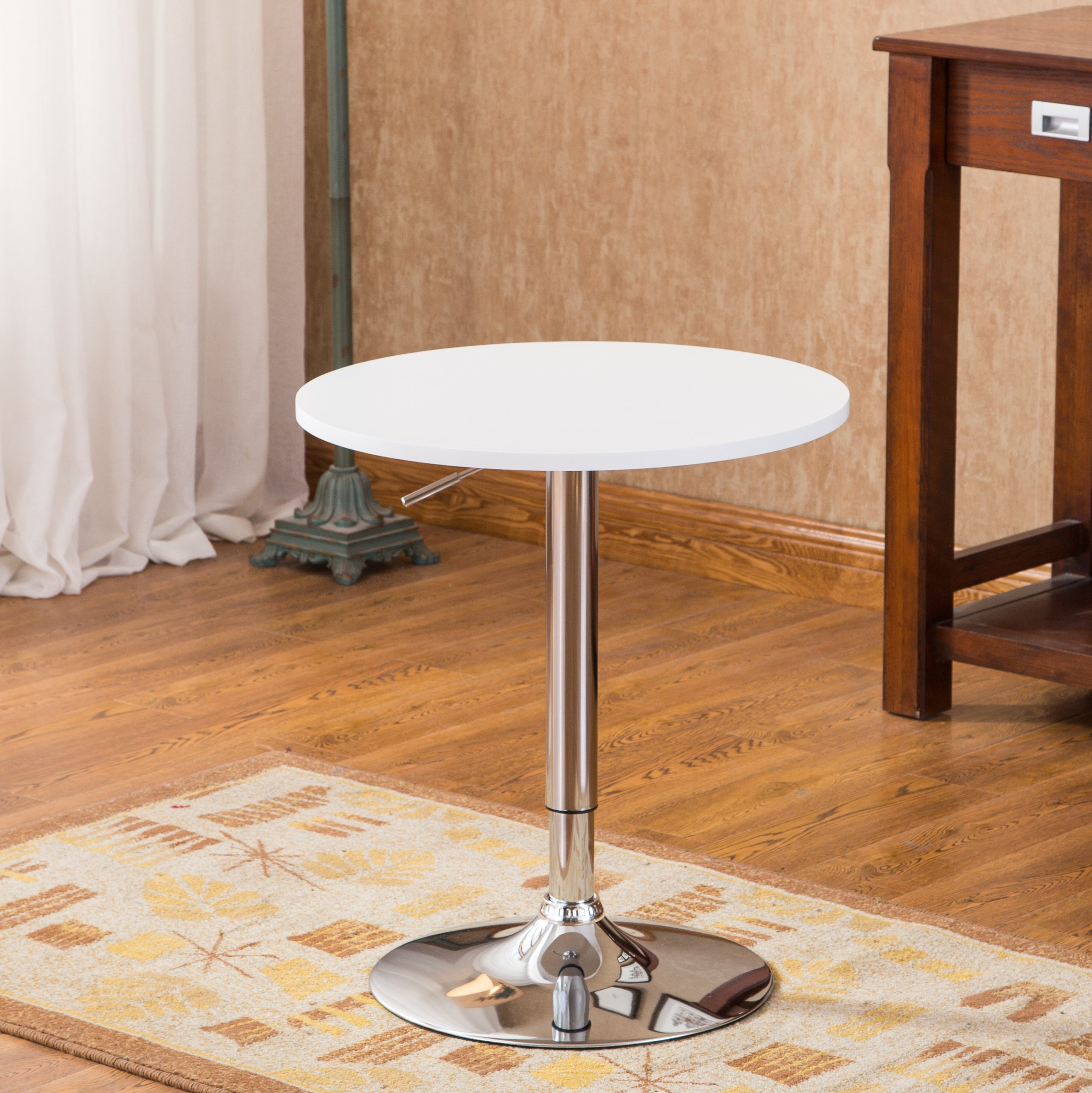 Roundhill Furniture Adjustable Height Wood And Chrome
