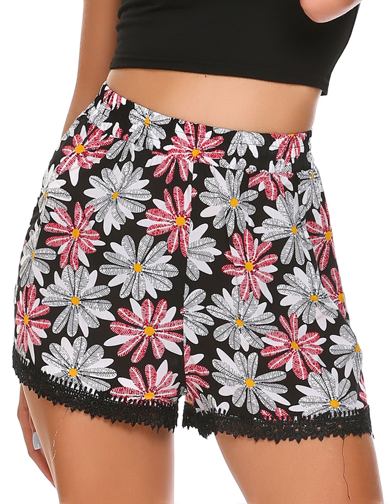 Zeagoo Women's High Waisted Print Lace Trim Summer Pom Beach Gym Mini Shorts Black-red Flower 2X Big
