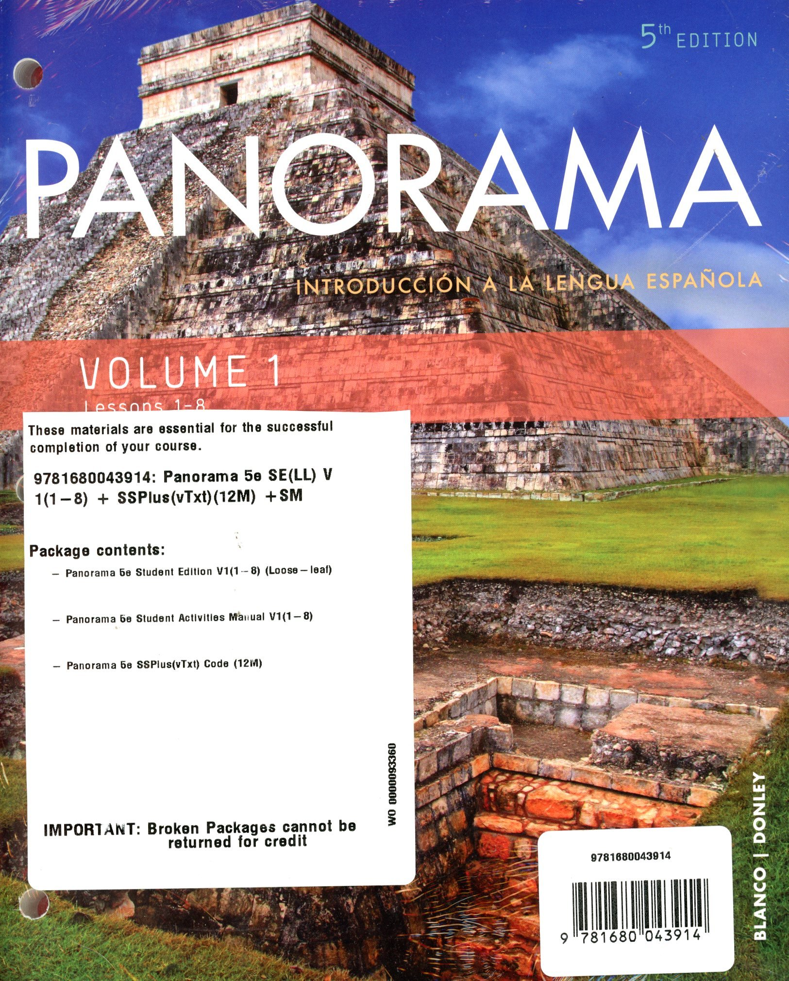 Read Online Panorama 5th Ed Looseleaf Vol 1 (Chp 1-8) w/ SSPlus(vTxt)(12M) Code and Student Activities Manual pdf