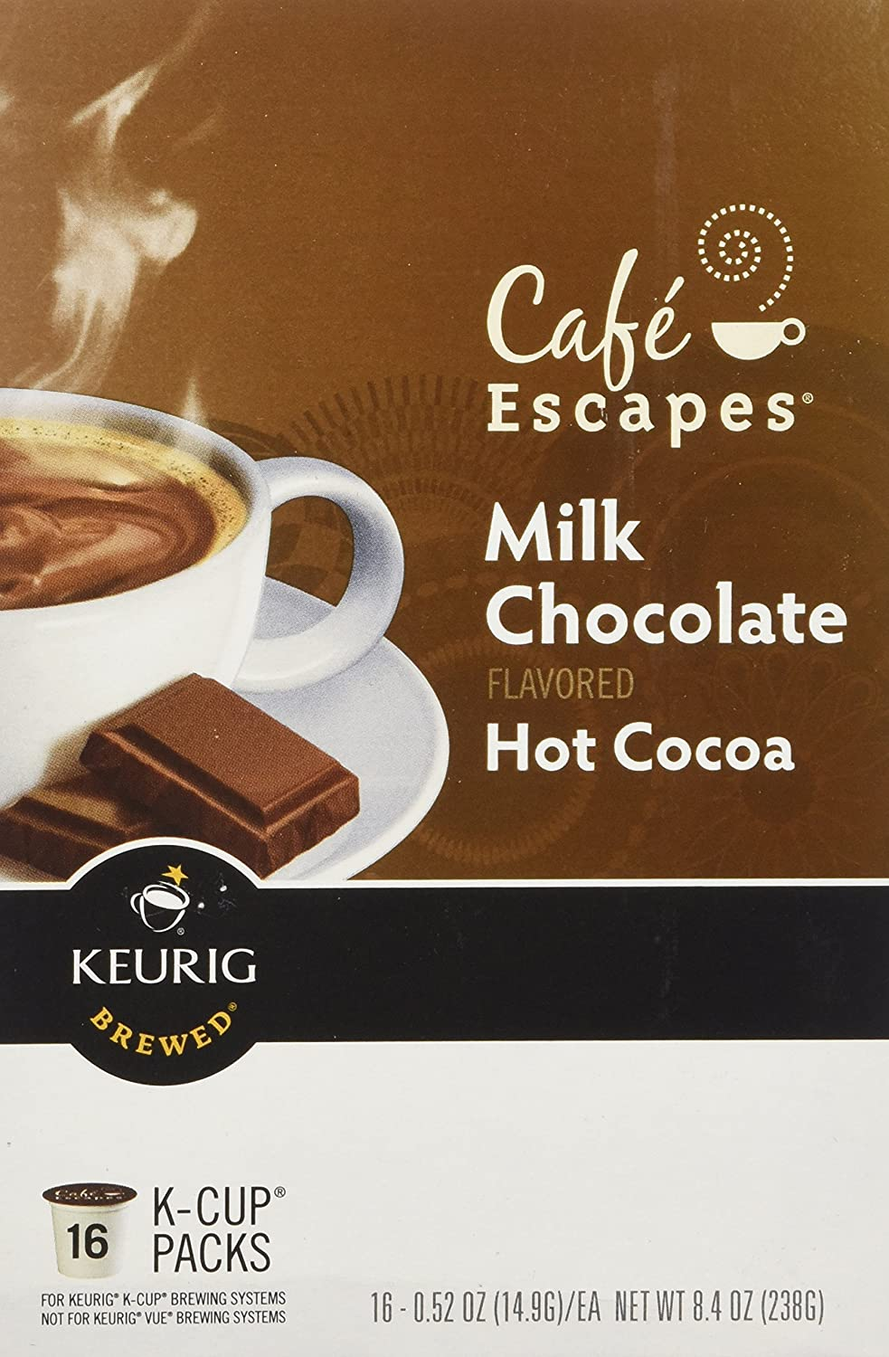 Cafe Escapes Milk Chocolate Hot Cocoa Keurig K-Cups, 16 Count ...