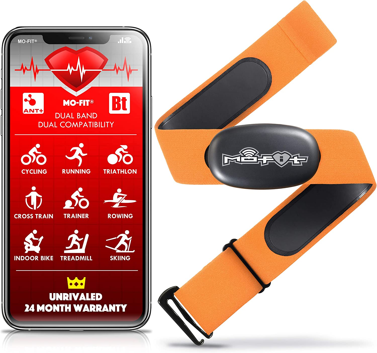 """Mo-Fit Heart Rate Monitor Chest Strap for Garmin, Apple, Android, Peloton, Zwift, ANT+ and Most Bluetooth 4.0 Enabled Fitness Devices (M-XXL: 26""""-39"""") Orange"""