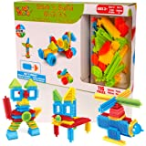 Learning Minds Stick 'n Build 116 Piece Building Blocks - Stacking Bricks Construction Toys For Toddlers Boys or Girls