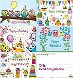 Lot de 10cartes d'anniversaire 5motifs différents de chouettes amusantes (2 cartes par motif) Format A6Format A 6Pour les enfants et les jeunes adultes