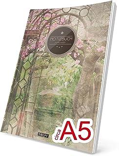"""A5 /""""C006 Blutrot/"""" Ca Vintage Softcover, Register, Punktkariertes Papier - Bullet Journal, Notizheft, Skizzenbuch, Tagebuch, Gepunktete Seiten, Dot Grid Notebook TULPE Punktraster Notizbuch"""