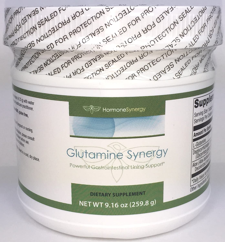 Glutamine Synergy 9.27 oz. 259.8 g Powder Powerful Gastrointestinal Lining Support* 3 Key Ingredients – 3.5 g. glutamine, 500 mg deglycyrrhizinated Licorice DGL , and 50 mg Aloe