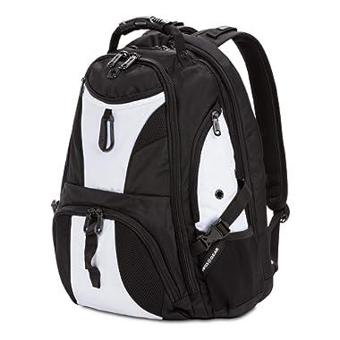 SWISSGEAR Large ScanSmart Laptop Backpack   TSA-Friendly Carry-on   Travel, Work, School   Men's and Women's - Black/White