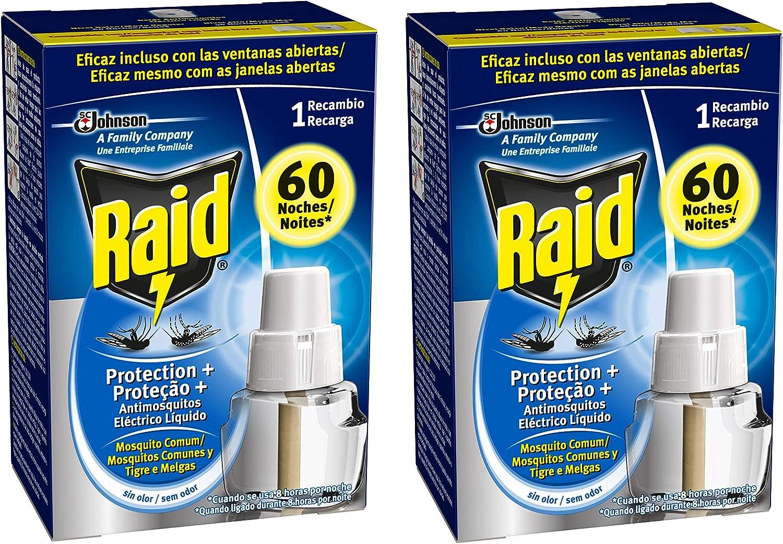 Raid - Recambio para Difusor Eléctrico Protection Plus Anti Mosquitos Comunes y Tigre, Regulador y Modo Alta Protección [Pack de 2]