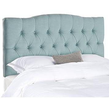 safavieh axel sky blue upholstered tufted headboard king - Tufted Bed Frame King