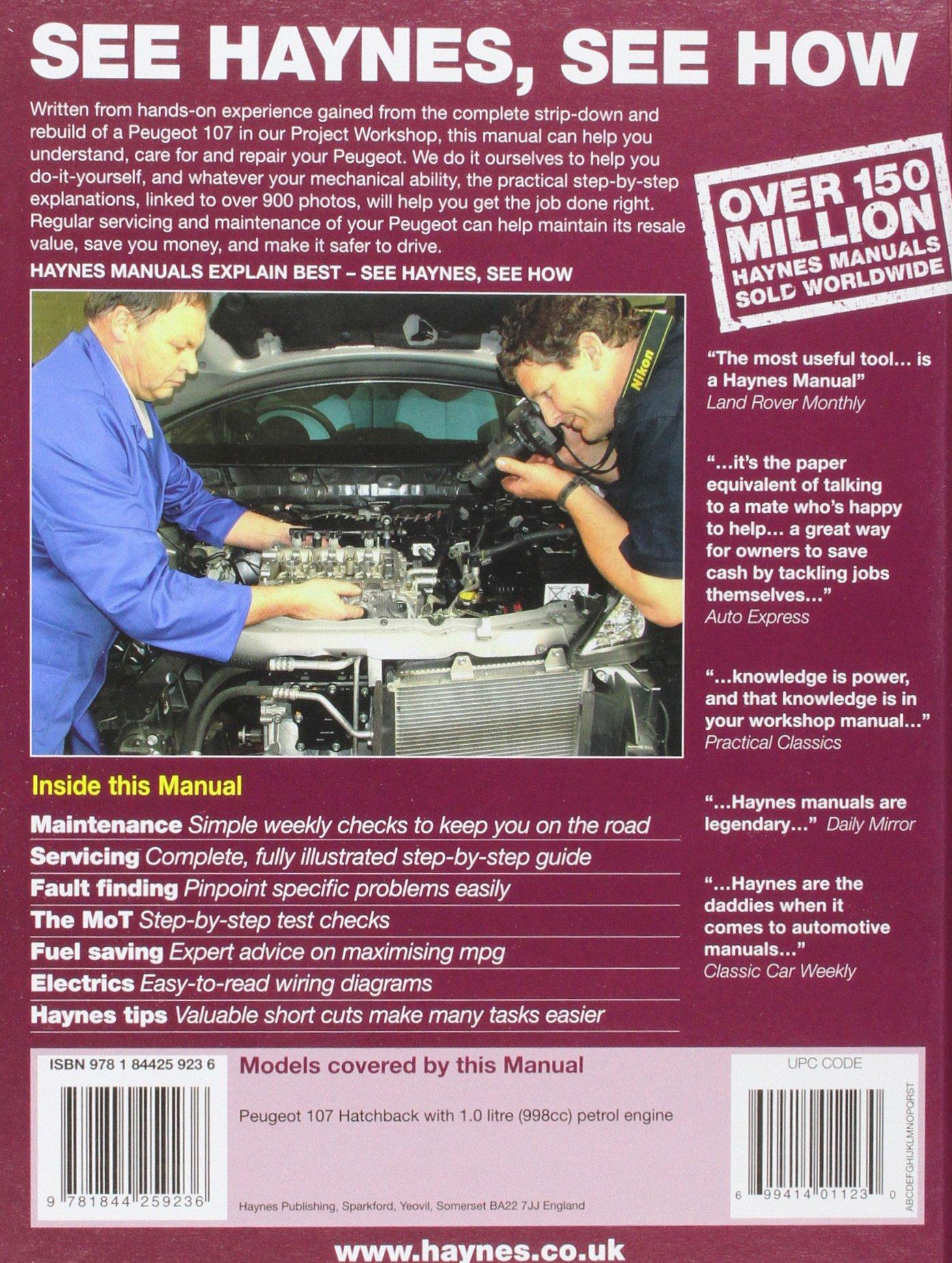 Peugeot 107 Petrol (05 - 11) Haynes Repair Manual: Amazon.co.uk: Anon:  9781844259236: Books