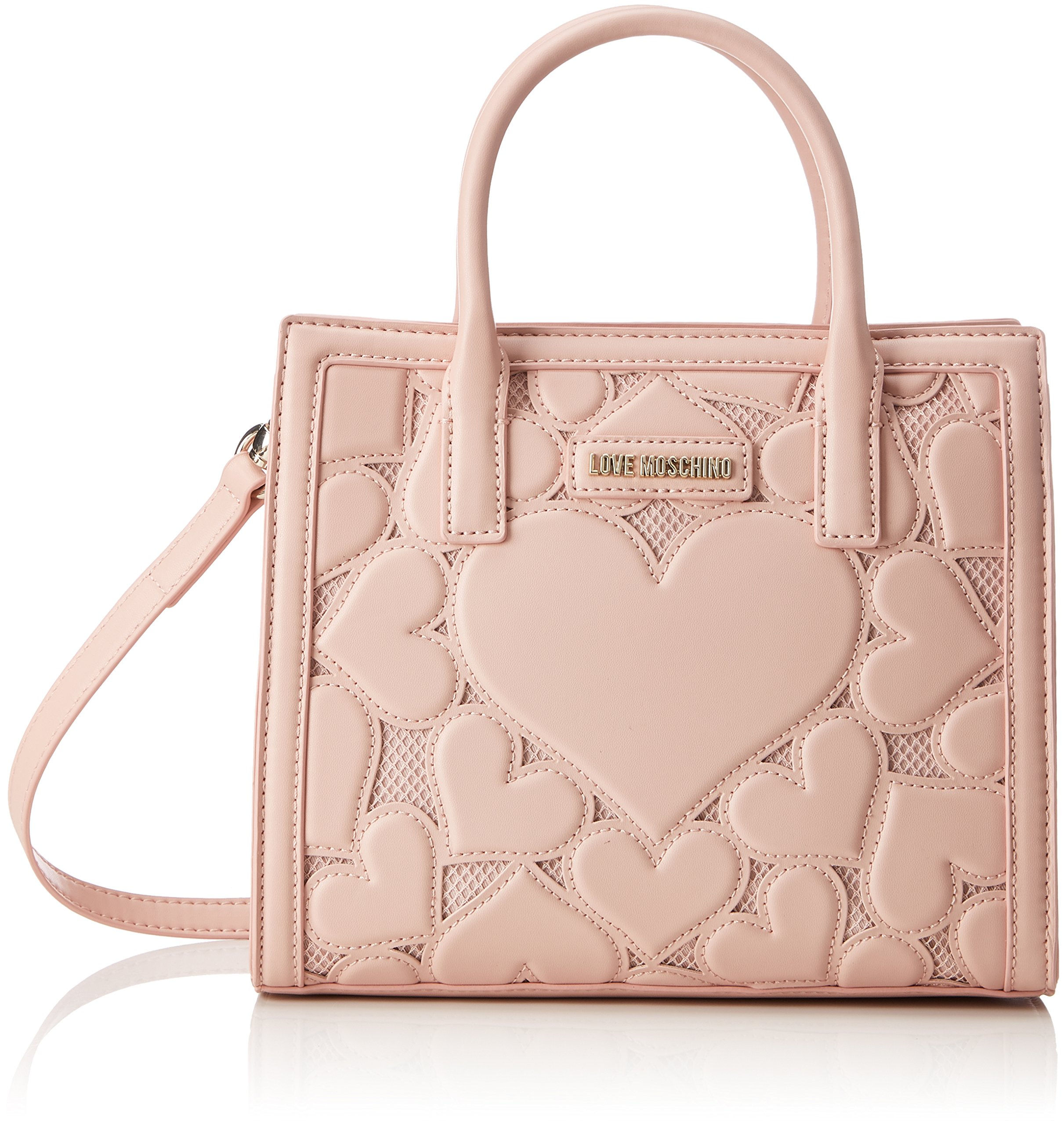 Love Moschino Intarsia hand bag with belt removable pink