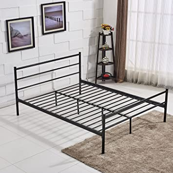 vecelo metal bed frame with headboard footboard queen