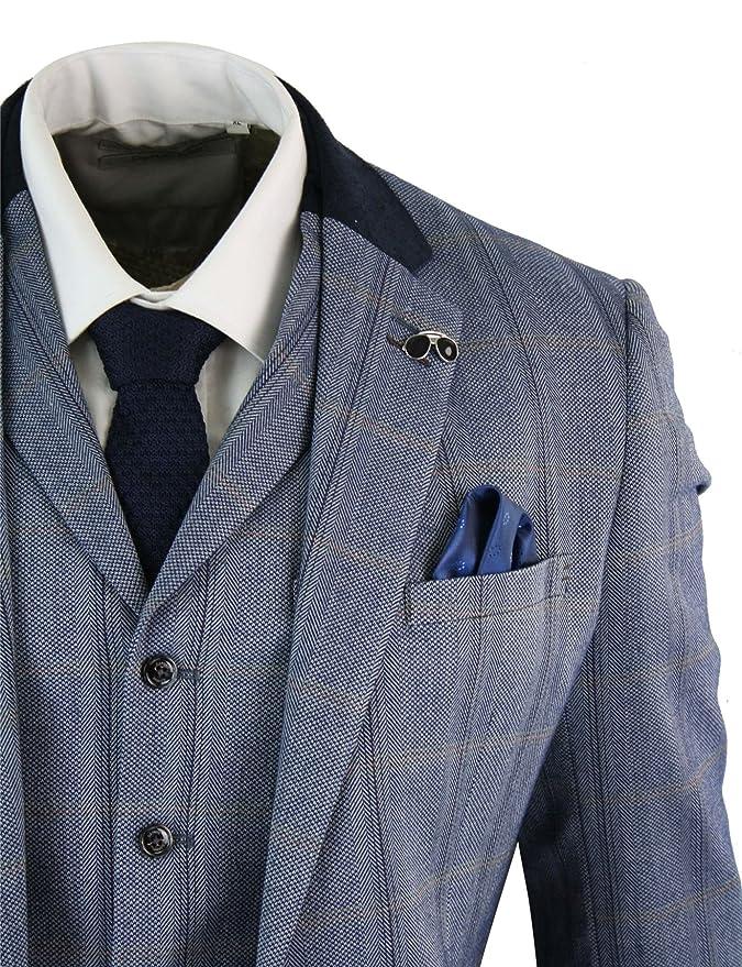 Amazon.com: Cavani para hombre Tweed 3 piezas traje de azul ...