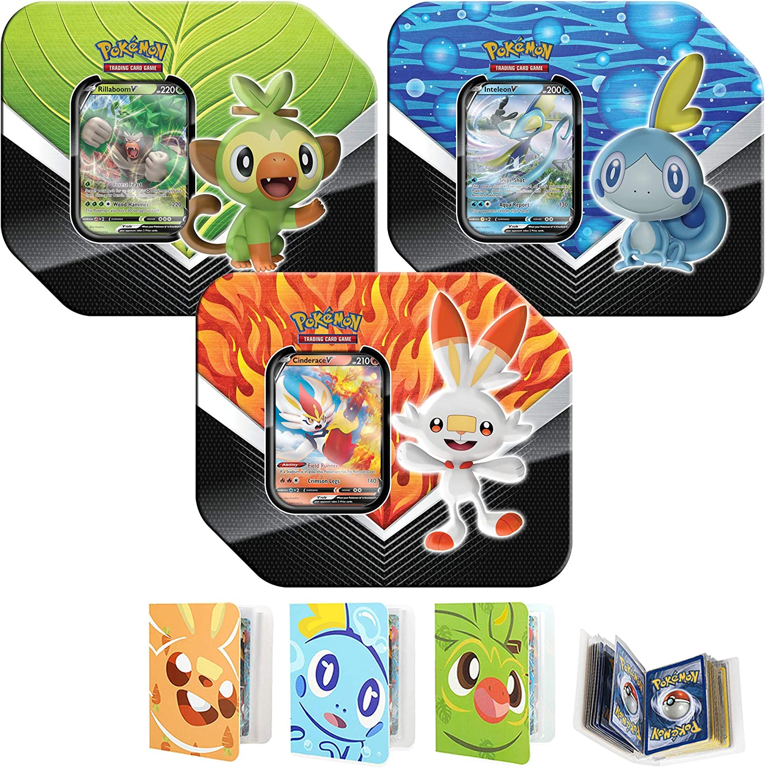 Totem World All 3 Sword Shield Galar Partners Tin Rillaboom Cinderace Inteleon V Set With 3 Totem Mini Album Binder Grookey Scorbunny Sobble Perfect For Pokemon Cards Decks Sets Amazon Canada I opened up this really cool grookey tin that comes with 5. totem world all 3 sword shield galar