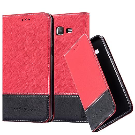 Cadorabo Hülle für Samsung Galaxy Grand Prime - Hülle in ROT SCHWARZ – Handyhülle mit Standfunktion und Kartenfach aus Einer