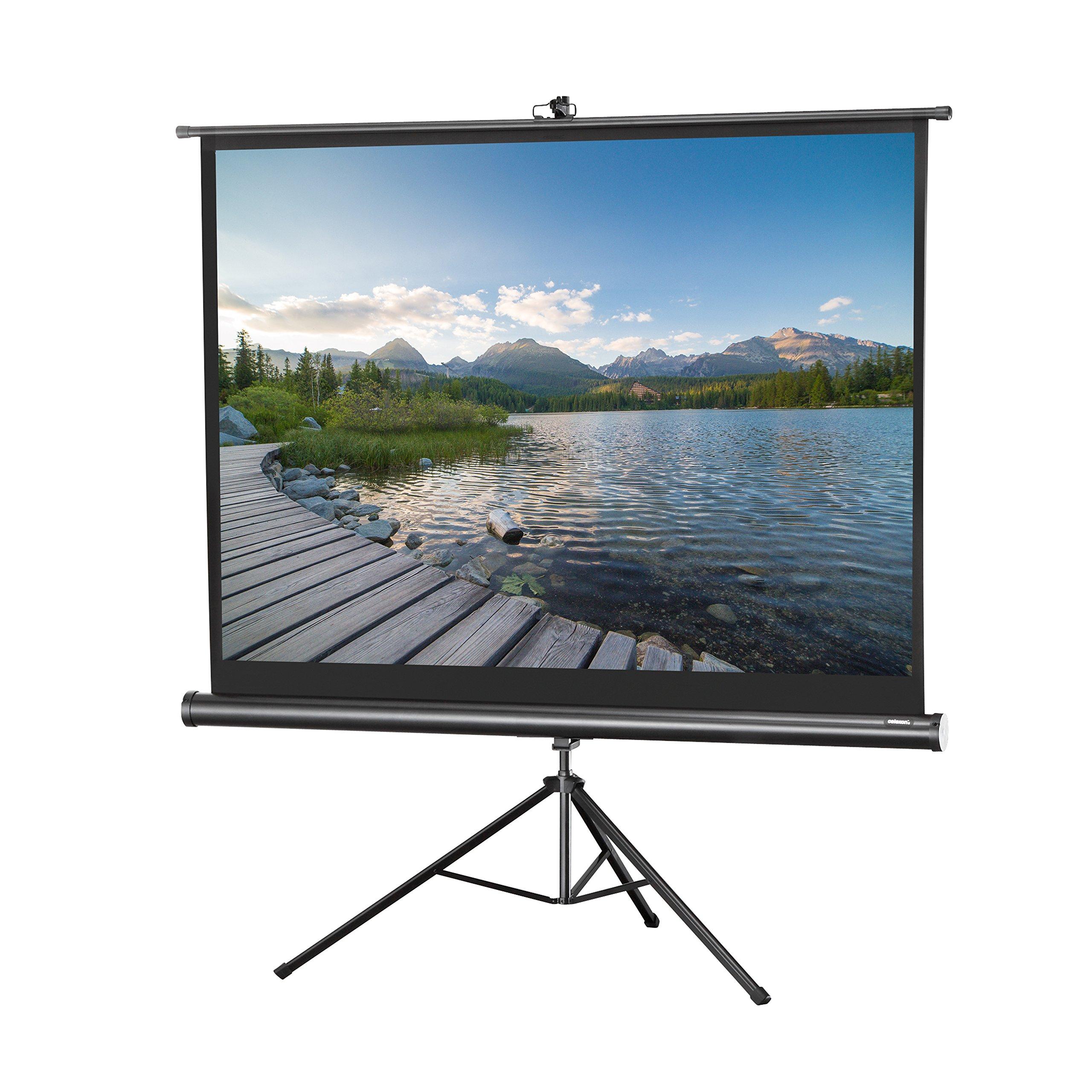 celexon 120'' Tripod Projector Screen Tripod Economy, 96 x 72 inches viewing area, 4:3 format, Black edition