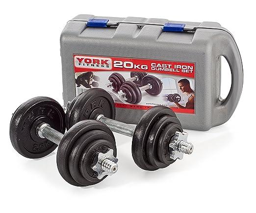 145 opinioni per York Fitness, Set di manubri, 20 kg con foratura di 2,54 cm