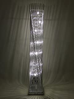 cayan tower led woven wire and aluminium twisted prism floor lamp featuring silver stems - Led Floor Lamp