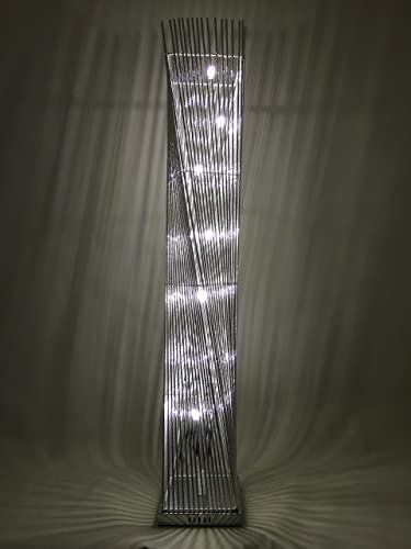 Diablo twisted tower floor lamp with silver wirealuminium stems cayan tower led woven wire and aluminium twisted prism floor lamp featuring silver stems greentooth Gallery