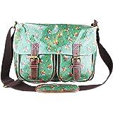 Exotic Glitter Designer Oilcloth Green Mini Flowers Floral Cross Body Saddle Bag Satchel Shoulder Messenger