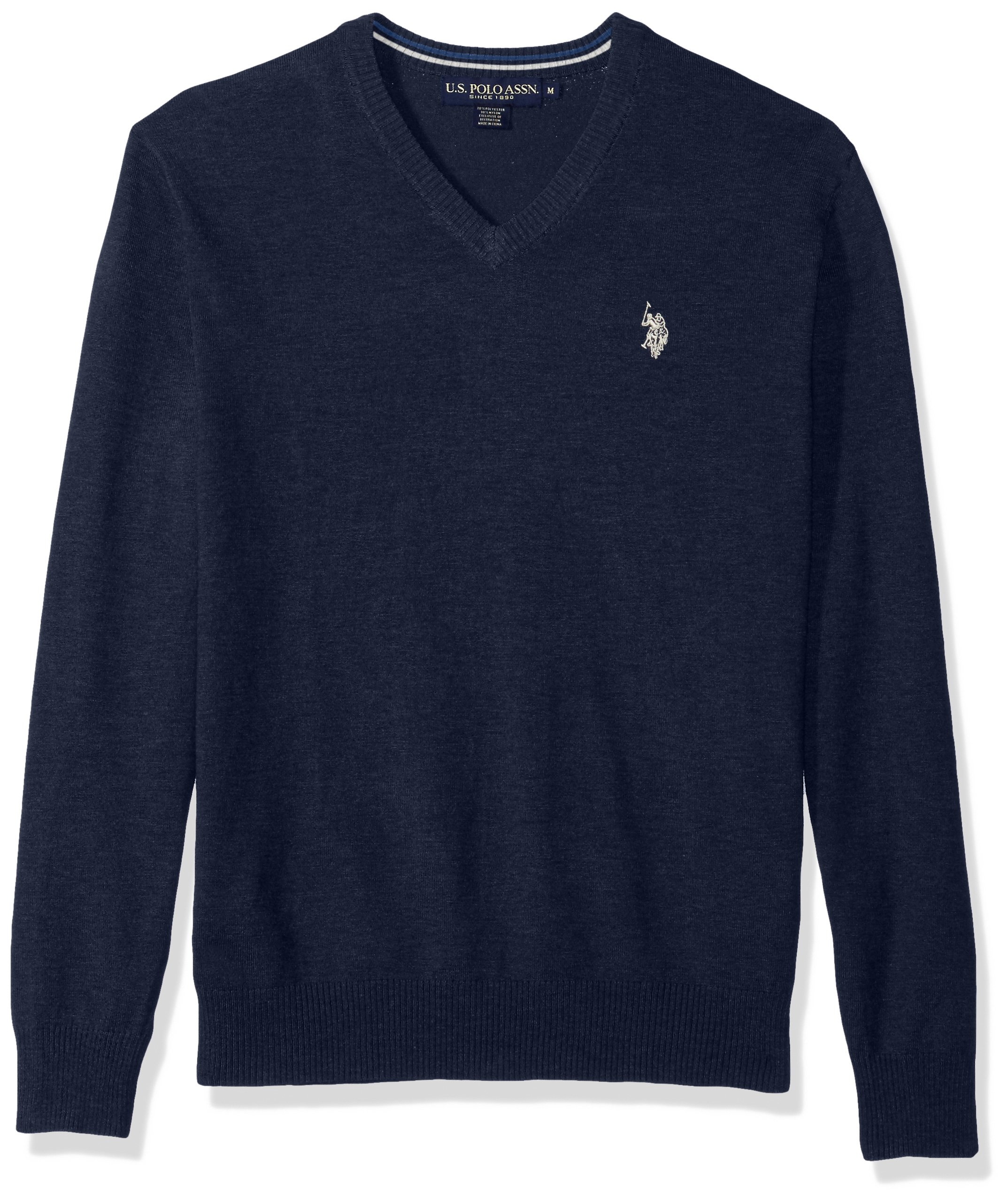 U.S. Polo Assn. Men's Stretch Fabric Solid V-Neck Sweater, Midnight Heather, Large