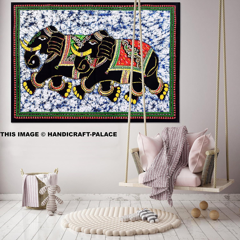 Handicraft-Palace インド人のデザイナー 象 壁の飾り ヒッピー バティック タペストリー ボヘミアン 曼荼羅 タペストリー 壁掛け 吊り下げ ひざ掛け B072MLDJPS