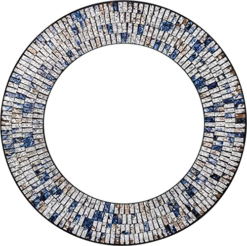 Zorigs, Handcrafted Glass Mosaic Decorative Wall Mirror, 24 Round Wall Mirror of Silver, Sapphire Blue, and Gold Glass Pieces, Wall Piece