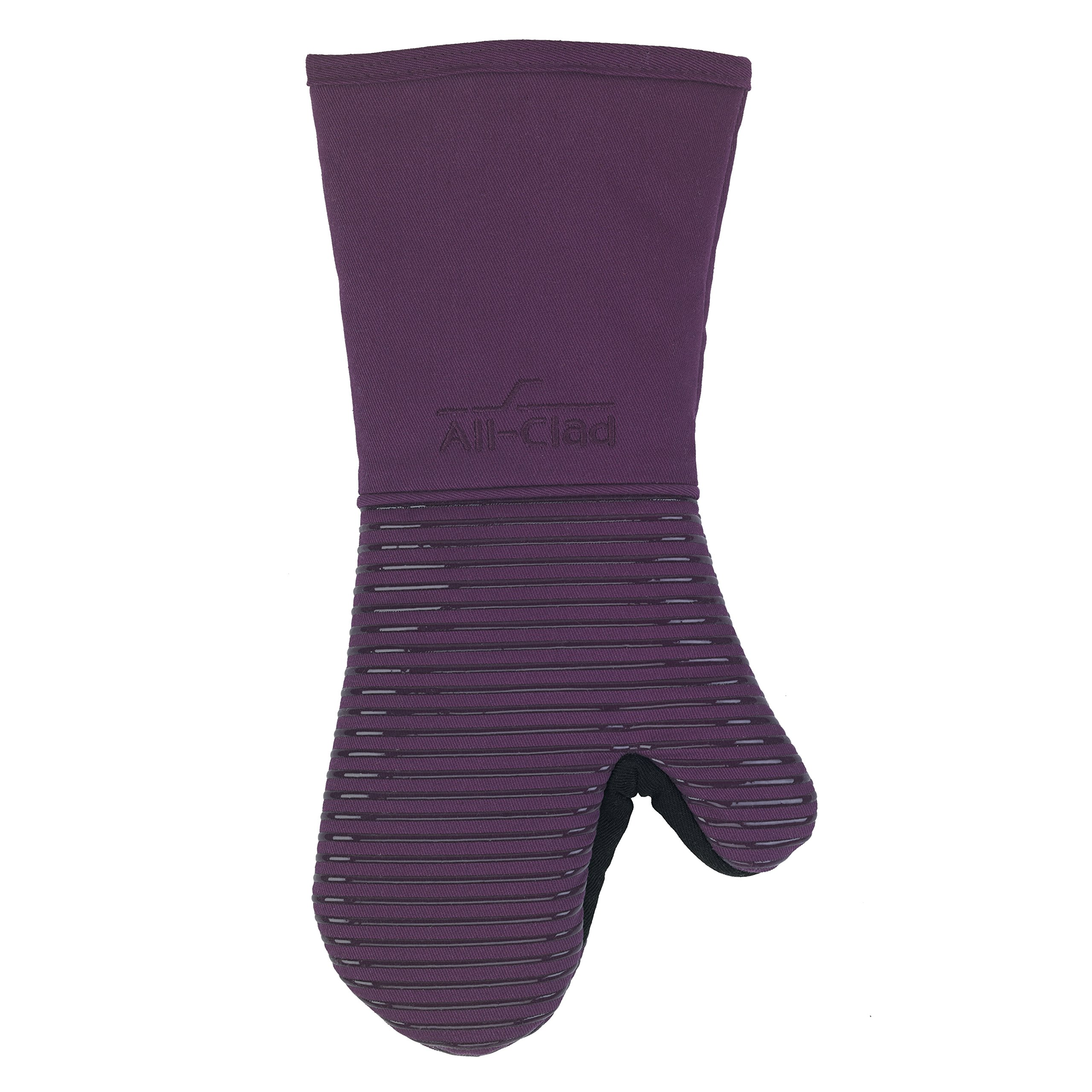 All-Clad Textiles Fire-Resistant Heavyweight Cotton Twill Oven Mitt with Non-Slip Silicone Grip and Reinforced Thumb, 500°F Heat Threshold, Plum Purple