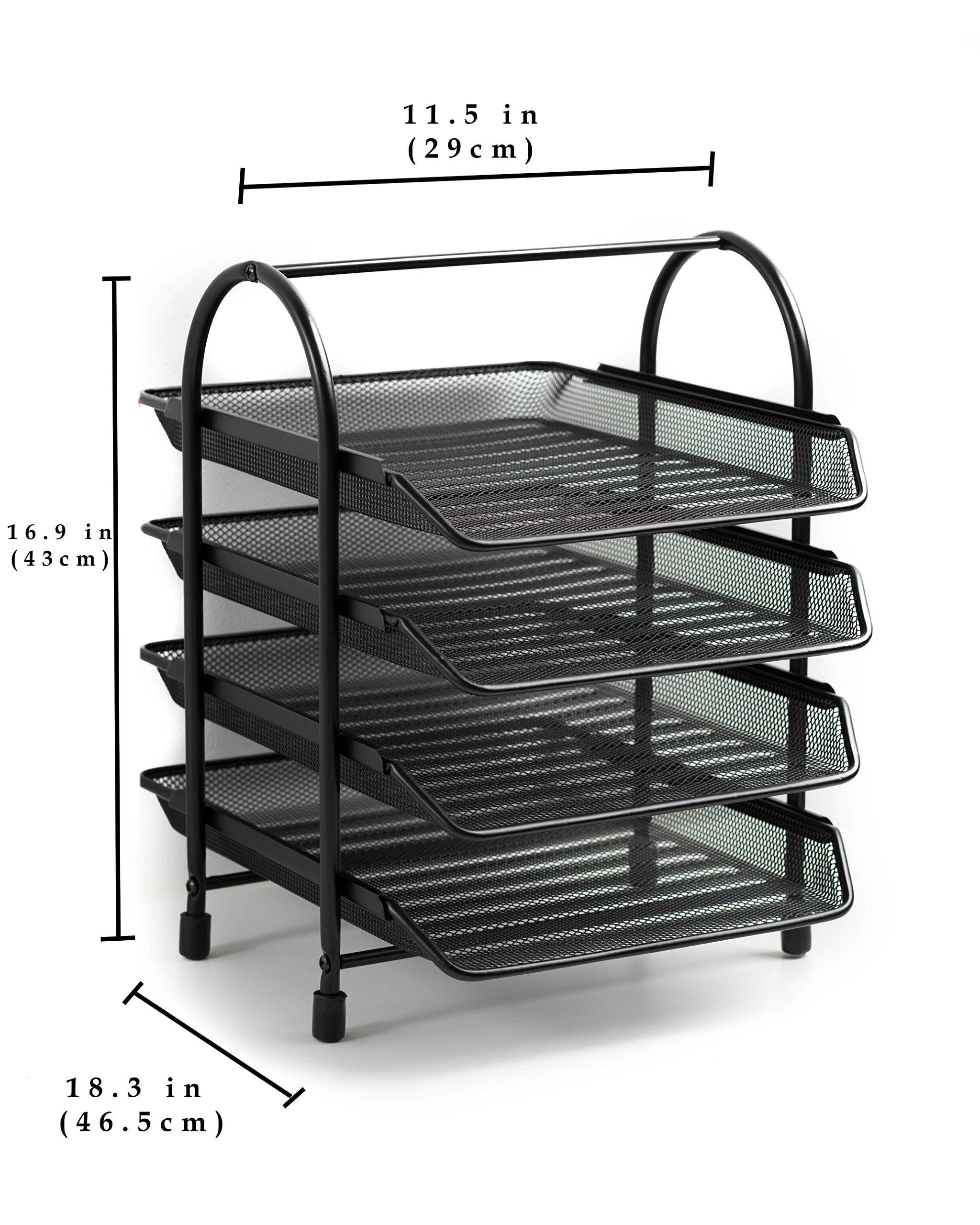 Klickpick Office 4 Tier Heavy Duty Metal Desktop Letter Tray l Document Organizer Tray l Magazine Holder l Paper File Newspaper Organizer Tray (Black) by Klickpick Office