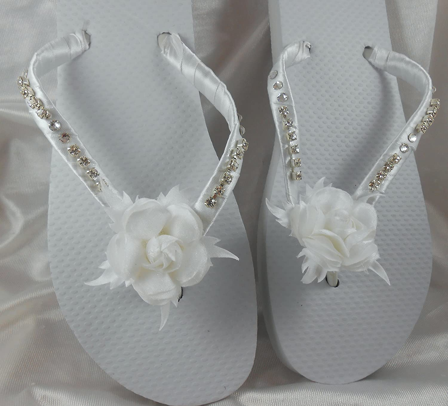 a0d9a9763 Handmade Satin Flowers Wedding Flip flops Matching Headband with genuine Swarovski  crystals Havaianas Flip Flops for Bridal Flat Shoes Gift My unique Design