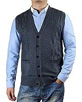 Zerdocean Men's Solid Color Button-Down Wool Sweater Vest Cardigan ...