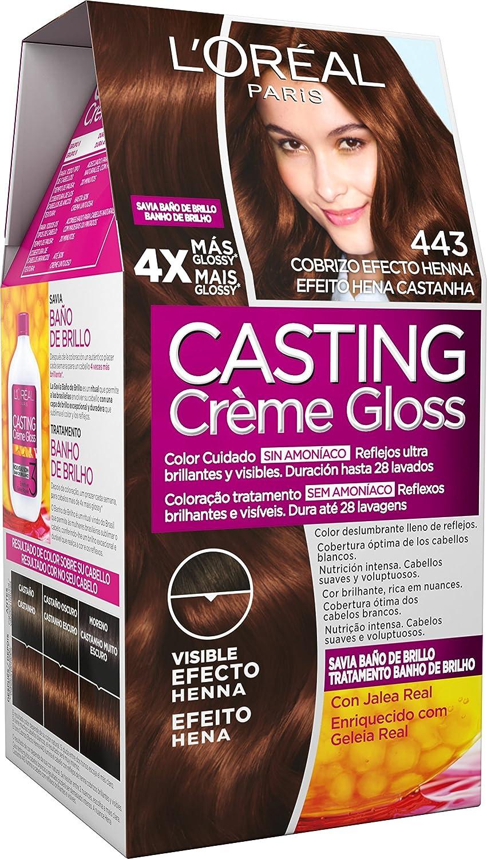 L'Oreal Paris Casting Crème Gloss Coloración Sin Amoniaco, Tono 443 Cobrizo Efecto Henna - 3 Paquete de 1 unidad