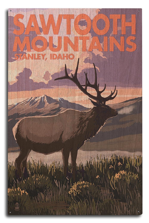 Stanley、アイダホ – Sawtooth山 – Elkとサンセット 10 x 15 Wood Sign LANT-76557-10x15W B07365X4WL 10 x 15 Wood Sign10 x 15 Wood Sign
