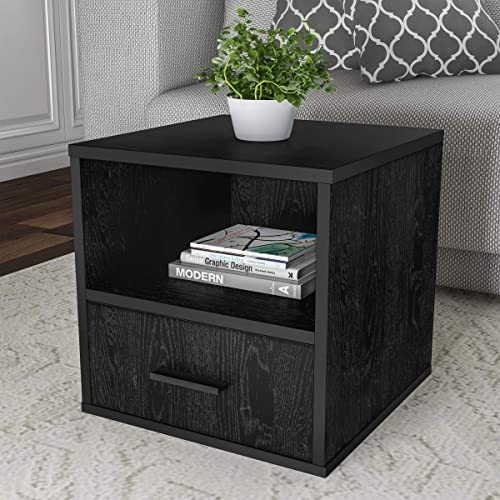 Lavish Home End Stackable Contemporary Minimalist Modular Cube Accent Table with Drawer for Bedroom, Living Room or Office Black ,