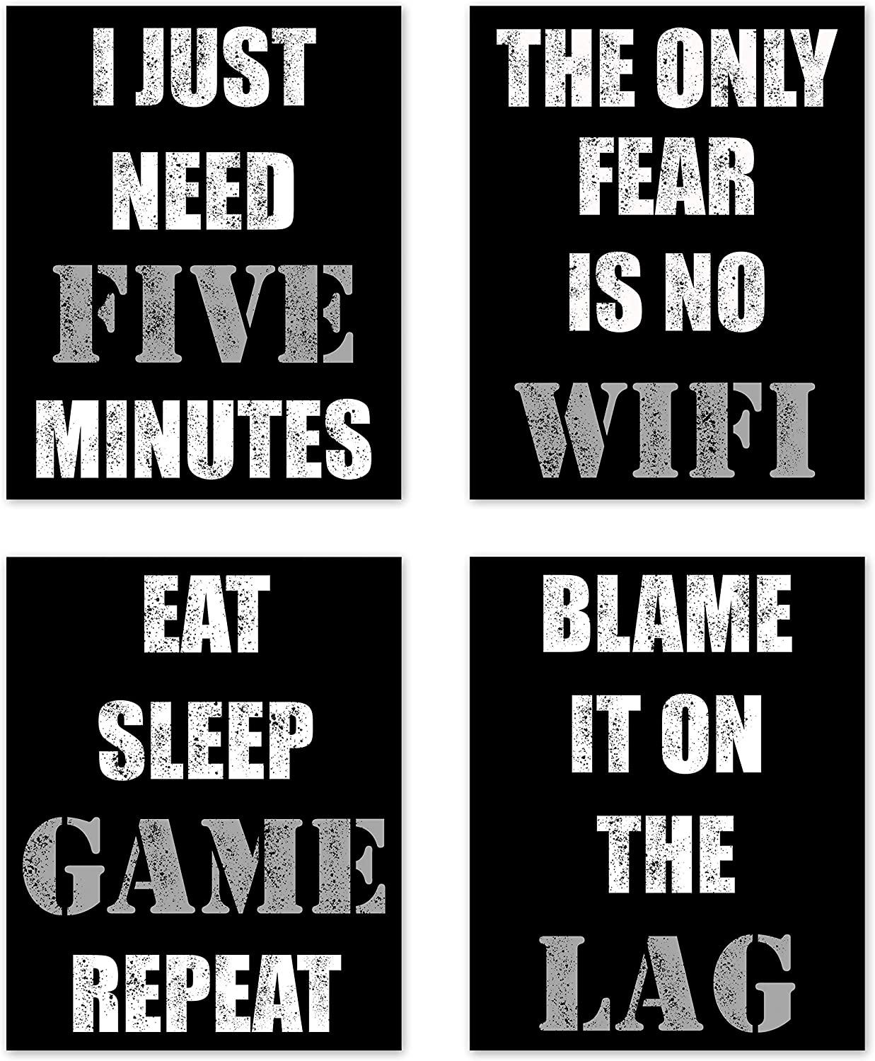 Video Game Themed Gamer Wall Art Posters Home Decor Black, White and Grey Gaming Bedroom Pictures Prints Decorations for Teen Dorm College Playrooom Gameroom Boys Girls Children –Set of 4 8 x 10 in.