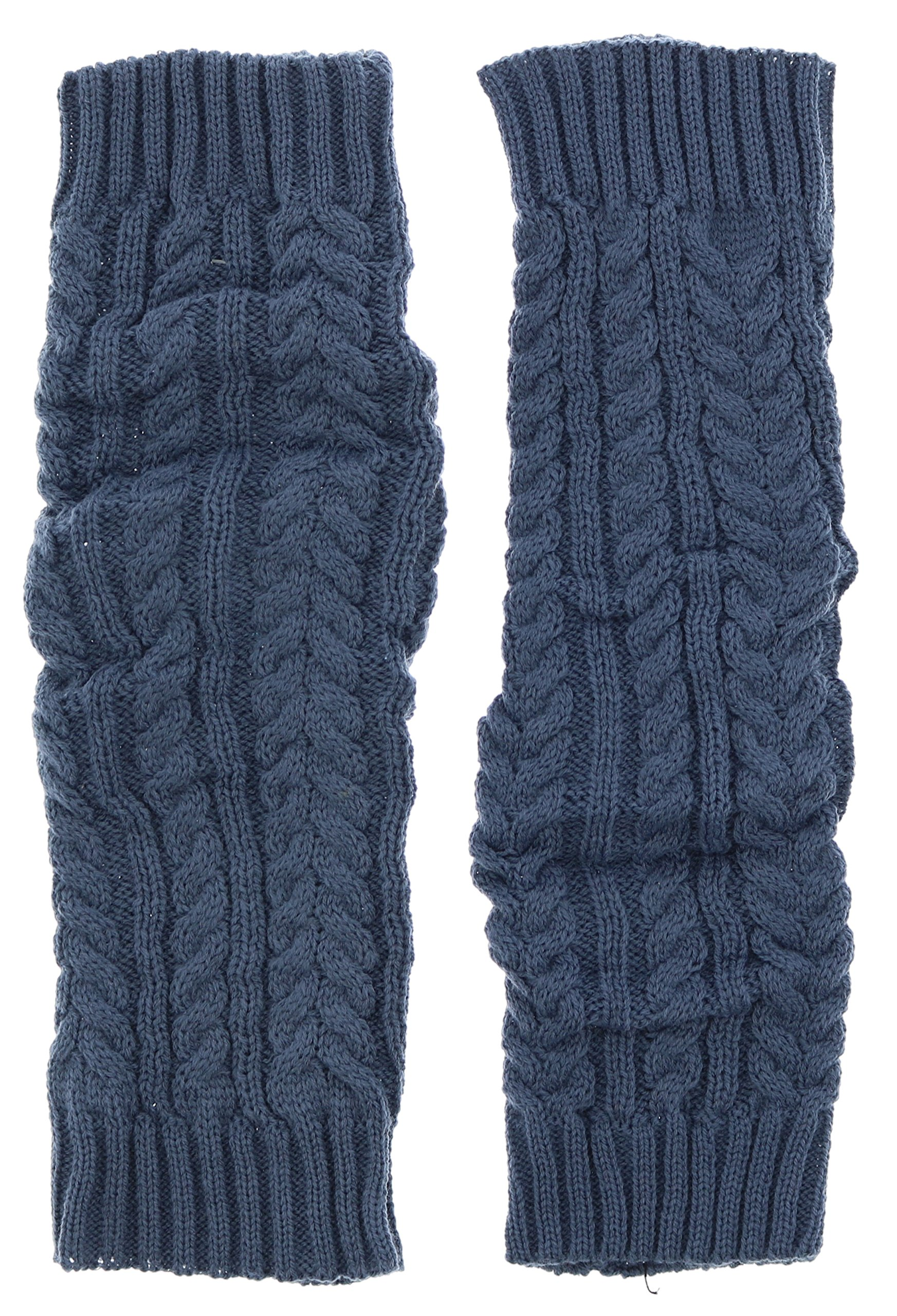 Violet & Virtue Women's Classic Cable Knit Ribbed Cuff Leg Warmers (Blue)