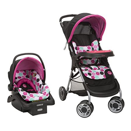 Disney Baby Minnie Mouse Lift Stroll Plus Travel System with Light N Comfy Infant Car Seat, Minnie Dotty