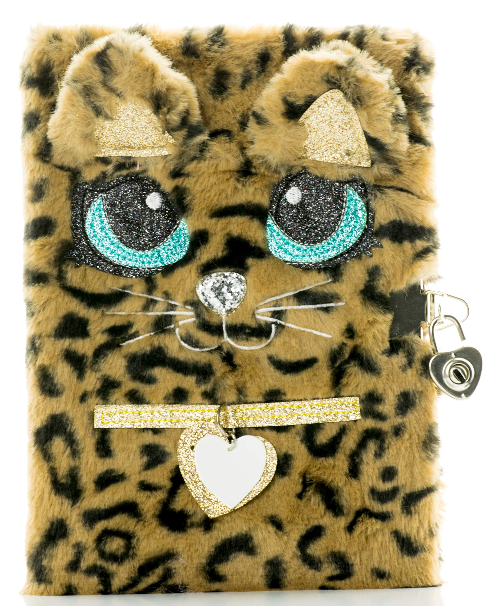 Busy Kid Plush Diary with Lock for Girls Glitter Kitty Notebook for Kids (Leopard) by Busy Kid