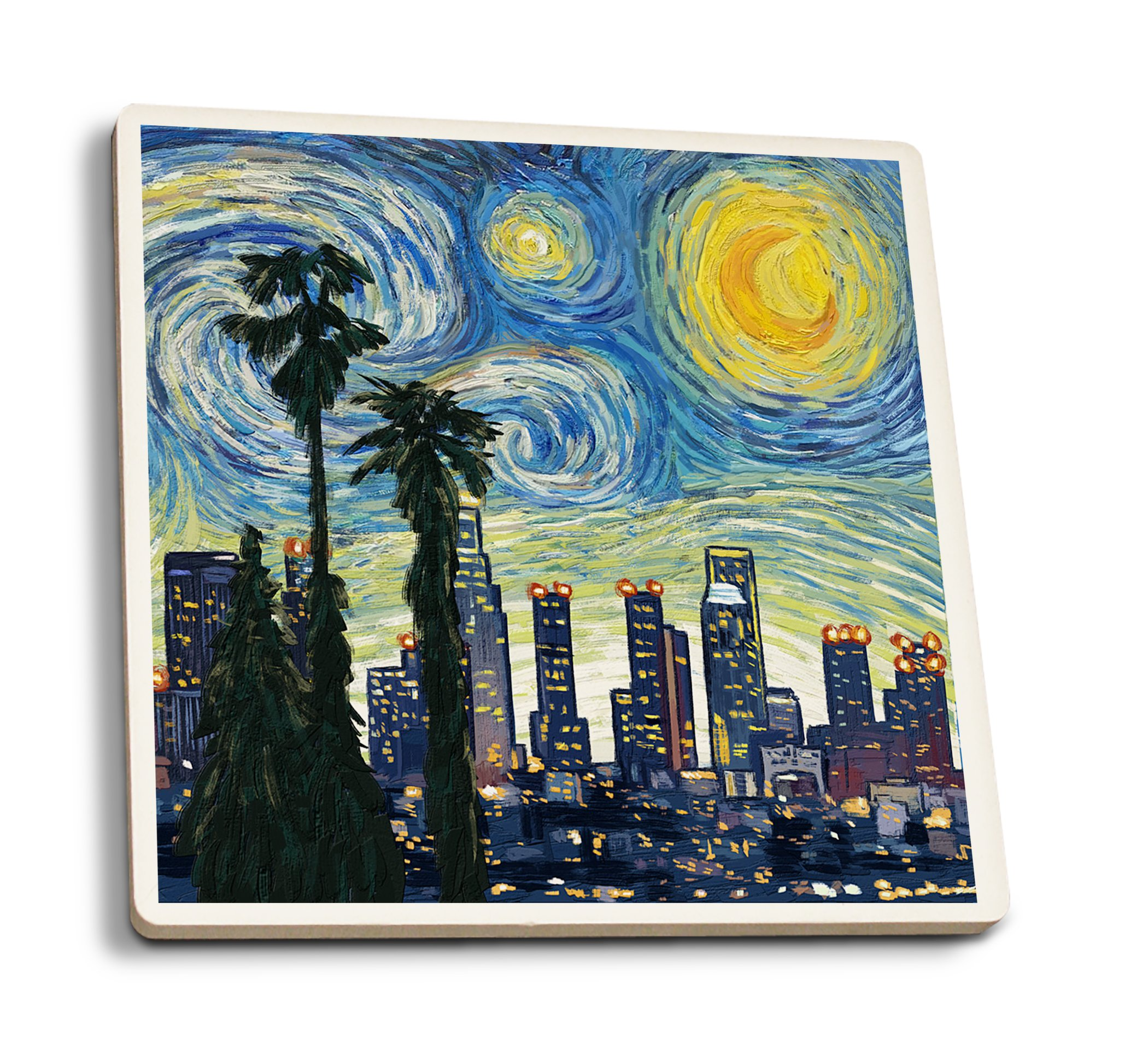 Lantern Press Los Angeles, California - Skyline - Van Gogh Starry Night (Set of 4 Ceramic Coasters - Cork-Backed, Absorbent)