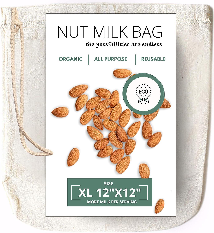 Organic Cotton Reusable Produce Shopping Bags Set Cold Brew Yogurt Nut Straining