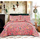 3 Piece Floral Summer Quilts Twin Size for Girls,Lightweight Bedspread Blossom Coverlet Orange Pink Bouquet Bed Cover…