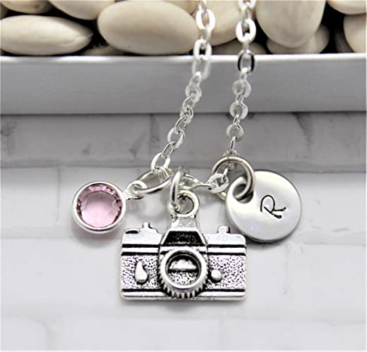 e32003234ad3 Image Unavailable. Image not available for. Color  Camera Necklace - Silver  Camera Jewelry - Photographer Gift - Personalized Birthstone   Initial -  Fast