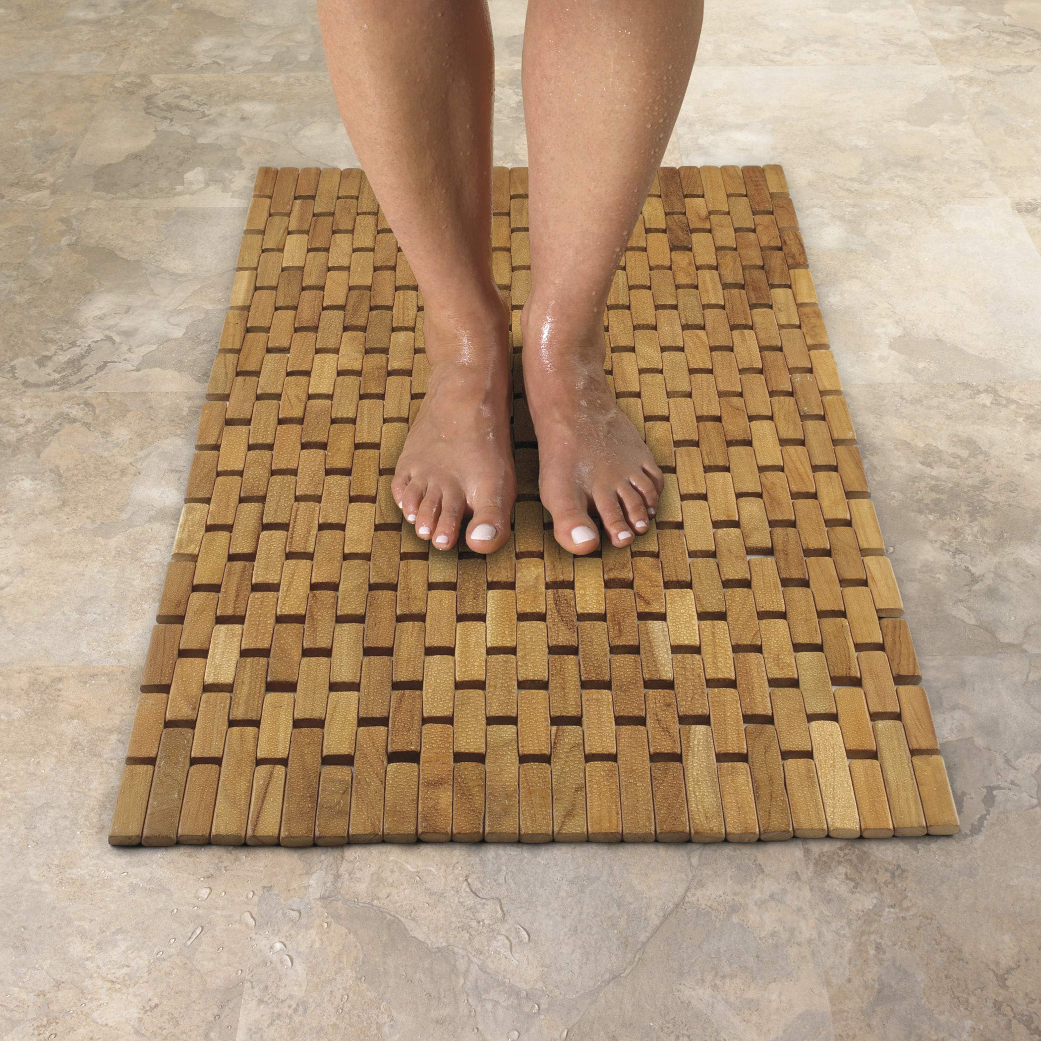Conair Home Teak Spa Mat, Roll-Up or Lay Flat by Conair (Image #3)