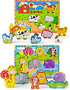 Sweepstakes: OKIKI Wooden Chunky Puzzles Set of 2: Wild…
