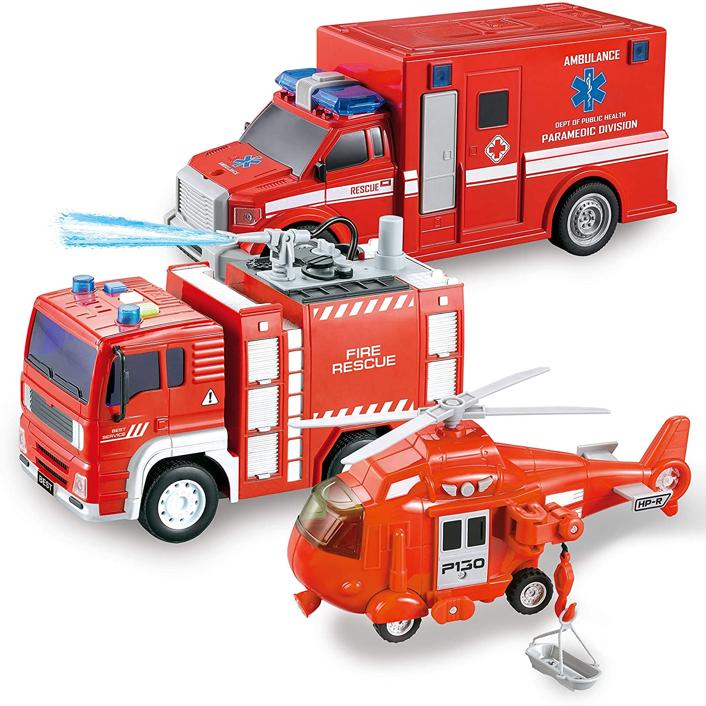 JOYIN 3 en 1 Vehículo de Rescate de Bombero, helicóptero, Ambulancia y camión de Bomberos, con luz y Sonido